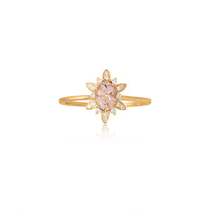 9ct Yellow Gold Fleur Morganite Diamond Ring