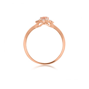 9ct Rose Gold Fleur Morganite Diamond Ring