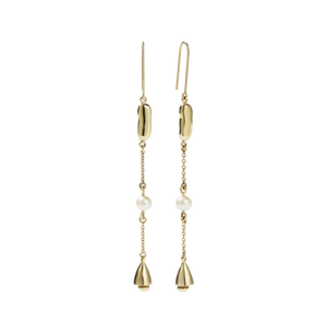 9ct Gold Dune Bell Drop Earrings