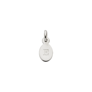 Silver E Oval Letter Charm
