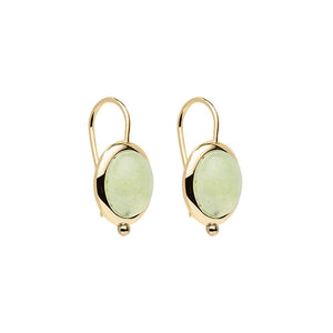 Justinia Earring - Yellow Gold Plated Prehnite