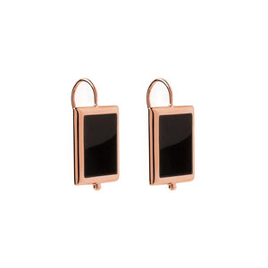 Rose Gold Plated Josephine Earring -Onyx