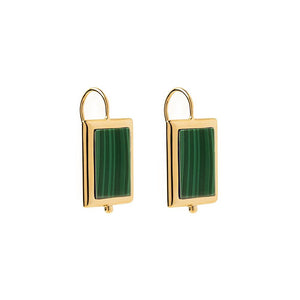 Gold Plated Josephine Earring -Malachite