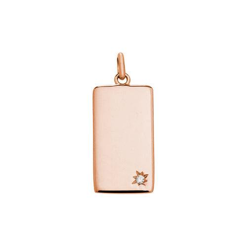 Engravable Rectangle Tag 18ct Rose Gold Plated Vermeil Charm