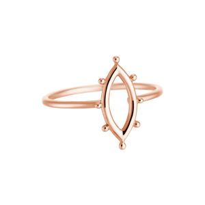 Rose Gold Plated Marquise Dot Ring