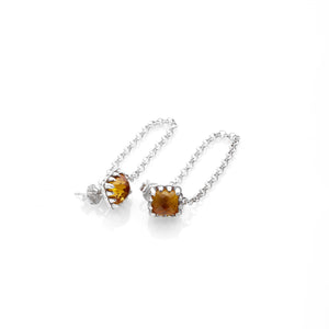 Silver Falling Claw Earring - Yellow Zircon