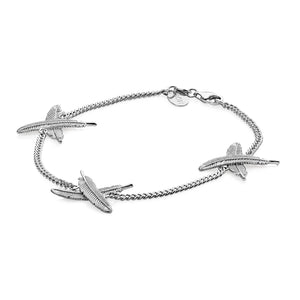 Silver Feather Kisses Bracelet