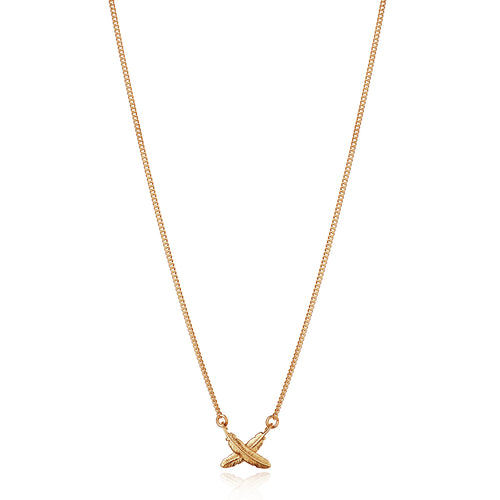 9ct Yellow Gold Petite Feather Kisses Pendant