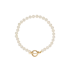 Gold Plated Fob Pearl Anklet