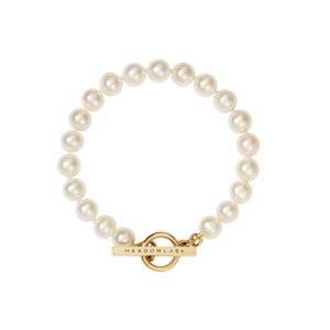 Gold Plated Fob Pearl Bracelet