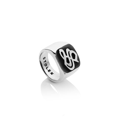 Silver Gothic Stamp Signet Ring
