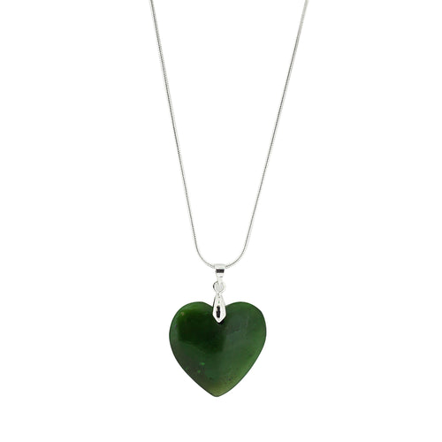 Silver Greenstone NZ Heart 25mm Pendant