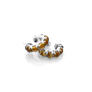 Silver Halo Cluster Earring - Yellow Zircon