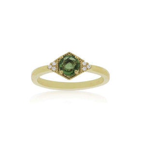 18ct Yellow Gold Riley Green Sapphire Diamond Ring