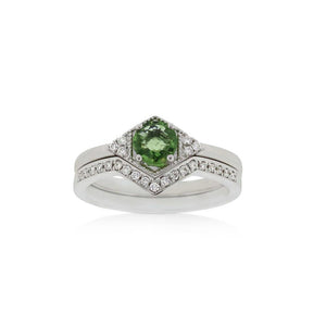 18ct White Gold Riley Green Sapphire Diamond Ring