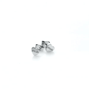 Silver Stolen Heart Stud Earrings