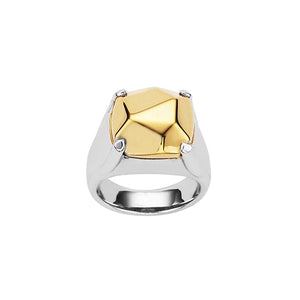 Silver 9ct Gold Top Rock Ring
