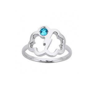 Silver Topaz Lightning Bolt Ring