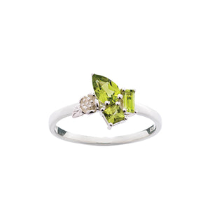 Silver Peridot Rock Garden Mini Ring