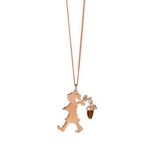 9ct Rose Gold Runaway girl with Acorn
