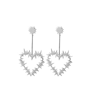 Silver Electric Heart Drop Earrings