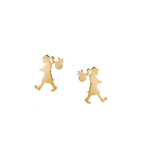 9ct Yellow Gold Runaway Girl Stud Earrings