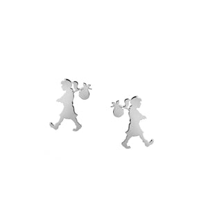 Silver Runaway Girl Stud Earrings