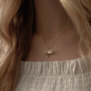 9ct Yellow Gold Dragonfly Necklace