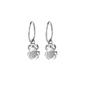 Silver Beetle Sleeper Earrings