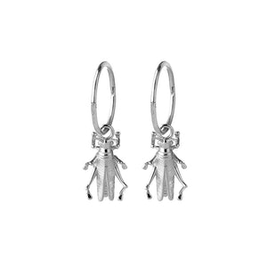 Silver Grasshopper Sleeper Earrings
