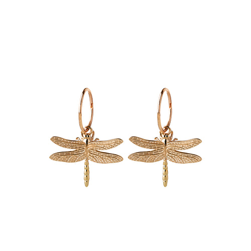 9ct Yellow Gold Dragonfly Sleeper Earrings