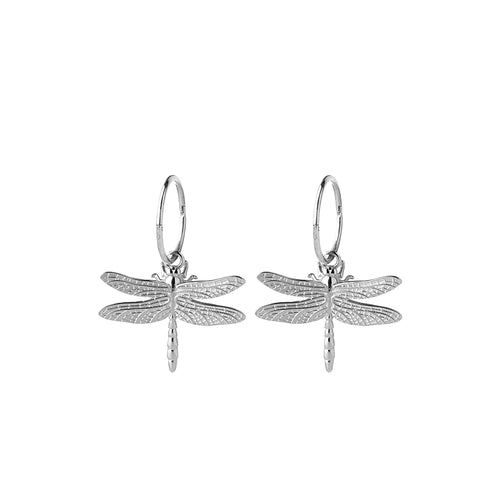 Silver Dragonfly Sleeper Earrings