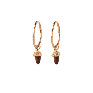 9ct Yellow Gold Micro Acorn & Leaf Sleeper Earrings