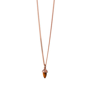 9ct Rose Gold Micro Acorn & Leaf Necklace
