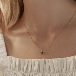 9ct Yellow Gold Micro Acorn & Leaf Necklace