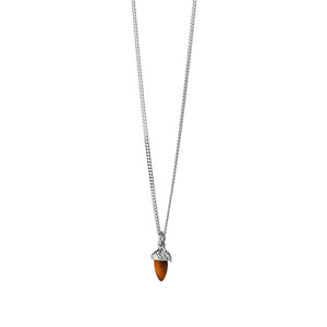 Silver Micro Acorn & Leaf Necklace