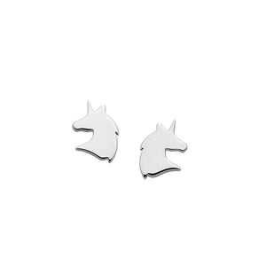 Silver Mini Unicorn Studs