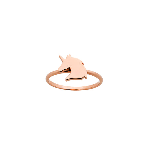 9ct Rose Gold Mini Unicorn Ring