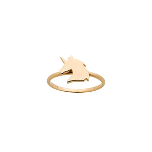 9ct Yellow Gold Mini Unicorn Ring