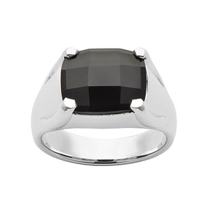 Silver Chequerboard Onyx Ring