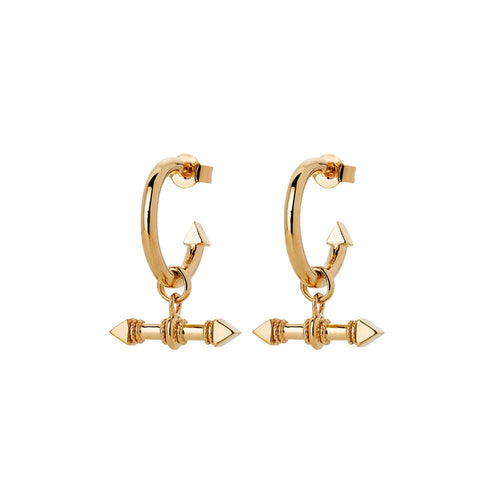 9ct Yellow Gold Arrow Fob Earrings
