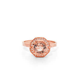 9ct Rose Gold Ritual Morganite Diamond Ring