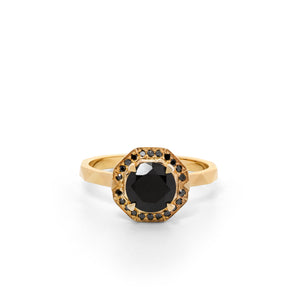 9ct Yellow Gold Ritual Onyx and Black Diamond Ring