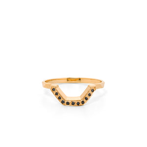 9ct Yellow Gold Ritual Black Diamond Band