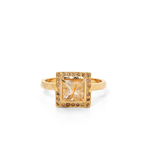 9ct Yellow Gold Euphoria Rutile Quartz Champagne Diamond Ring