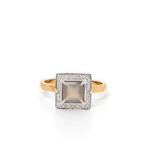 9ct Yellow Gold Euphoria Grey Moonstone Diamond Ring