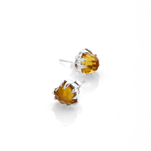 Silver Love Claw Earrings - Citrine