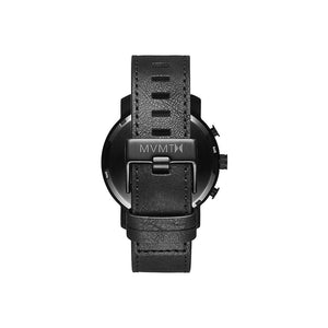 Chrono Black Leather Men's Watch