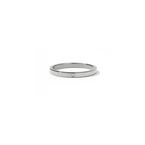 9ct White Gold 2mm Band with Stone - White Diamond