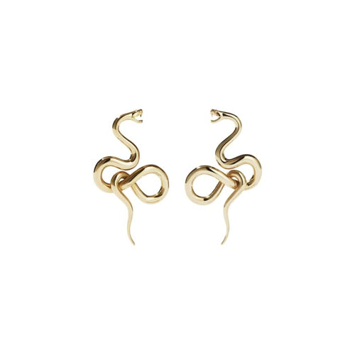 Gold Plated Medusa Earrings Medium